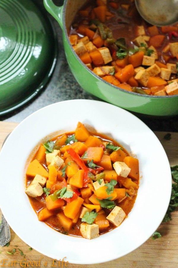 Thai Curry Pumpkin Soup. Ingredients: coconut milk, curry paste, veg stock, tofu, fish sauce, sugar, lemongrass, lime leaves, turmeric, pumpkin, or butternut squash, red pepper, lime, cilantro