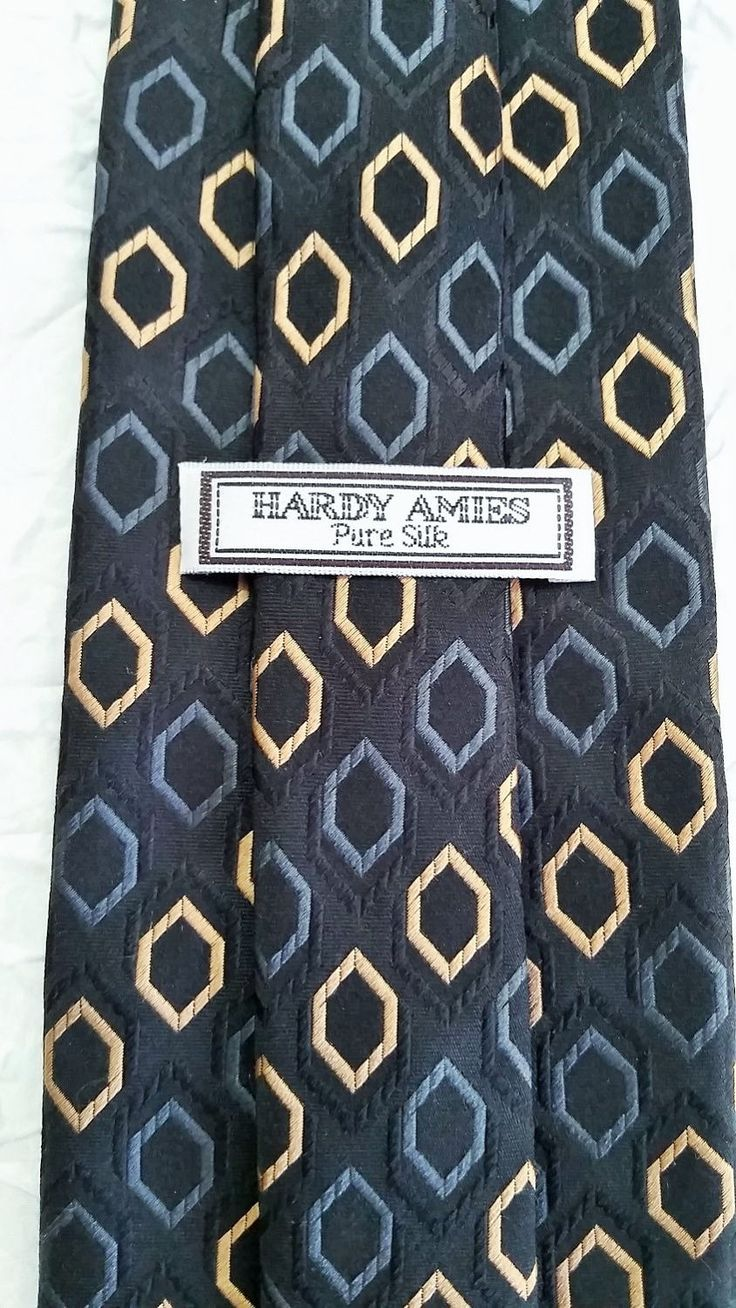 Hardy Amies Vintage Men's Tie, Pure Silk, Dark Blue Gray & Gold, Made in Germany