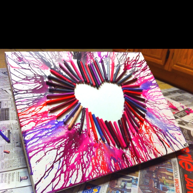 Crayon art(: this is going in my room!