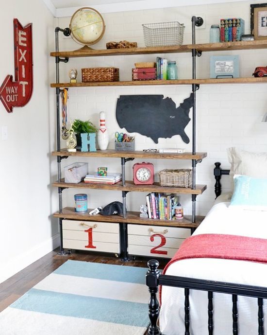 Industrial Shelving Organization: Bedroom