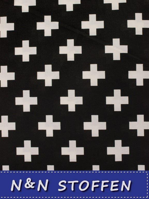 Bedrukte stof zwart met witte kruisen