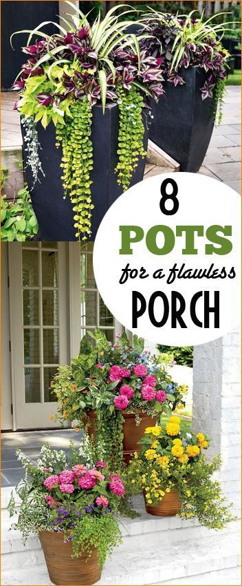 8 Pots for a Flawless Porch.  Gardening at it's finest.  Colorful flower pots and succulent displays for a summer porch.