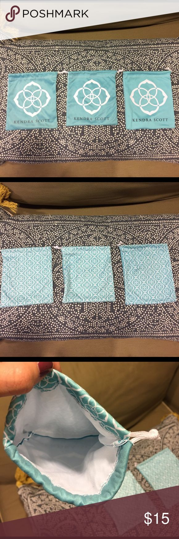 KENDRA SCOTT Jewelry pouches (set of 3) I have three Kendra Scott Jewelry pouches. All in excellent condition and perfect for transporting or storing Jewelry. I can also sell them individually, just comment and I will create a separate listing! Kendra Scott Jewelry