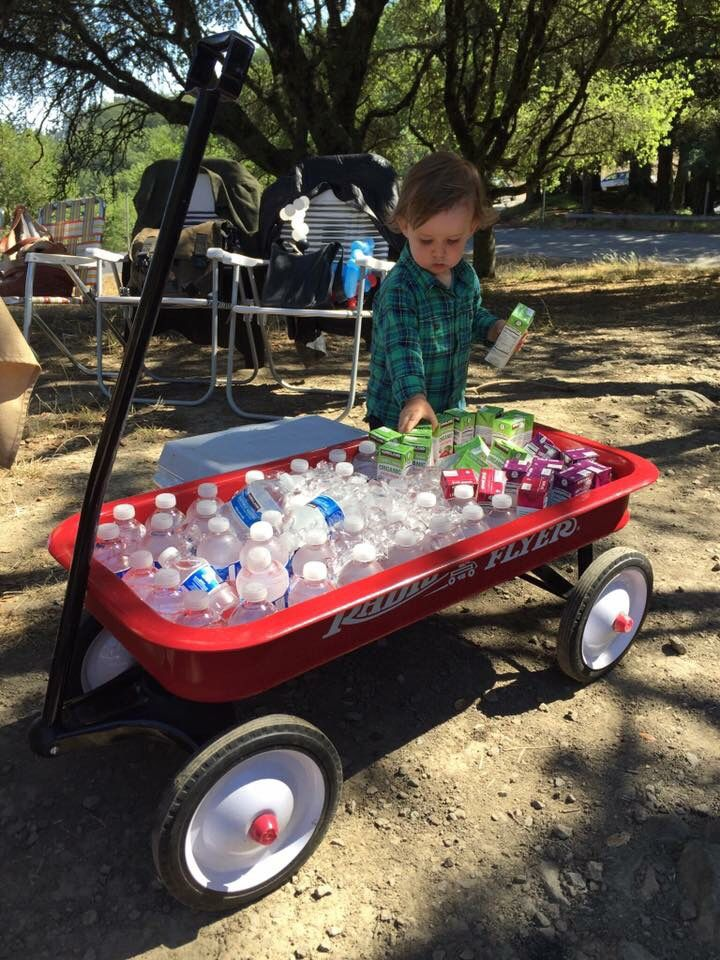 """Tommy's """"Chugga Chugga Two Two"""" Train birthday party. Use a red wagon for a cute drink cooler!"""