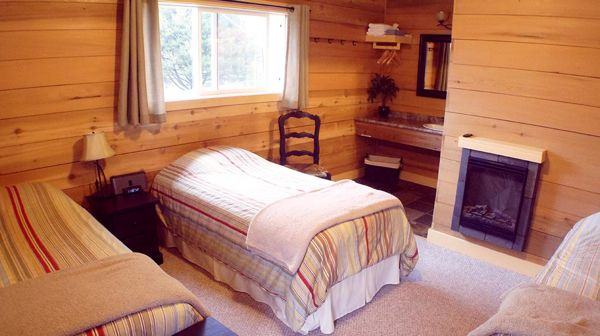 One of the rooms of our fishing lodge in Zeballos BC.
