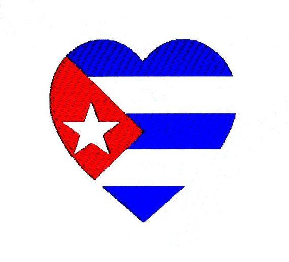 Cuba Flag Heart Embroidery Design