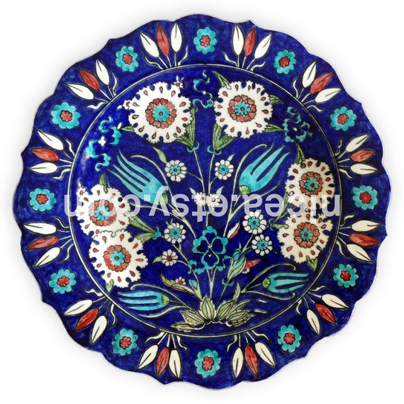Iznik Pottery Dish with Marguerites and Tulips by nicea on Etsy
