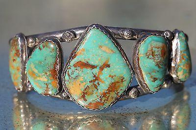 Vintage Navajo Style Sterling Silver Turquoise Row Bracelet Southwestern   eBay