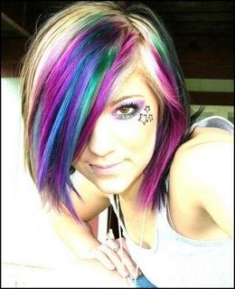 blonde pink and purple highlights