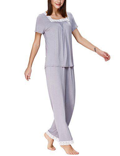 Zexxxy Women Pajama Set Soft Lace Square Neck Short Tops and Long Pants  ZE0128 cfcecca5e