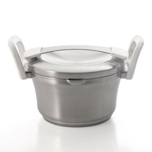 Auriga Stainless Steel Round Casserole with Lid by BergHOFF International. $79.99. 2303924 Features: -Casserole.-Material: Stainless steel.-Suitable for all heat sources.-6 Layer sandwich base for fast and energy saving cooking.-Transfers heat quickly and spreads evenly throughout the complete surface of the base.-Stylish white handles stay cool while in use.-Convenient pouring rim.-Practical scaling inside.-Practical pouring rim for mess free draining.-Design of...