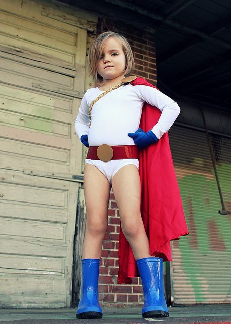 Little Power Girl. This girl is adorable. Props to who made her costume.