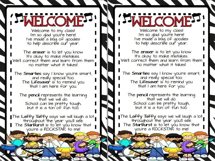 "FREEBIE..This is the ""Welcome"" to class goodie bag poem that many teachers use for Meet & Greet or Open House/Meet the Teacher Night. I just ""Rocked"" it up with Rockstar graphics and colors to fit with Rockstar themed classrooms or just for those who like think their kiddos are Rockstars.  Follow me on TPT for more fun, exciting products and FREEBIES. All new products are 50% off for the first 24 hours.  Like me on Facebook at www.facebook.com/rockininsecond for great ideas, products…"