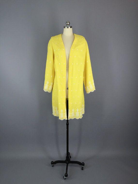Vintage Yellow Jacket / Cotton Eyelet / Dress Jacket / 1960s Duster #vintage #jacket #duster #coat #1960s #madmen #midcentury #cottoneyelet #yellowjacket