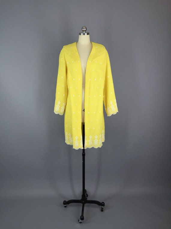 Vintage Yellow Jacket / Cotton Eyelet / Dress Jacket / 1960s Duster #vintage #jacket #duster #coat #1960s #madmen #midcentury #cottoneyelet #yellowjacket