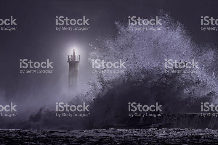 River Mund beacon bei Nacht – lizenzfreie Stock-Fotografie