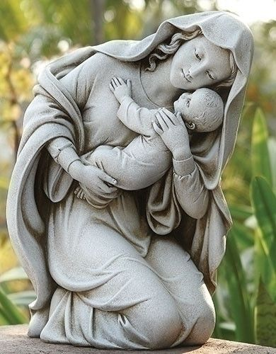 """Kneeling Madonna and Child garden statue. Beautiful loving Madonna and child figure for garden, grave or chapel. Modern style yet traditional figure of the Catholic faith. Dimensions : 13.5""""H 10.25""""W"""