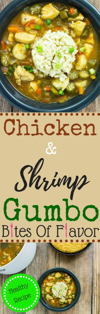 Chicken & Shrimp Gumbo- Diced chicken, vegetables, okra, & shrimp cooked in a decadent broth is delicious with every bite. Weight Watchers friendly recipe. www.bitesofflavor.com