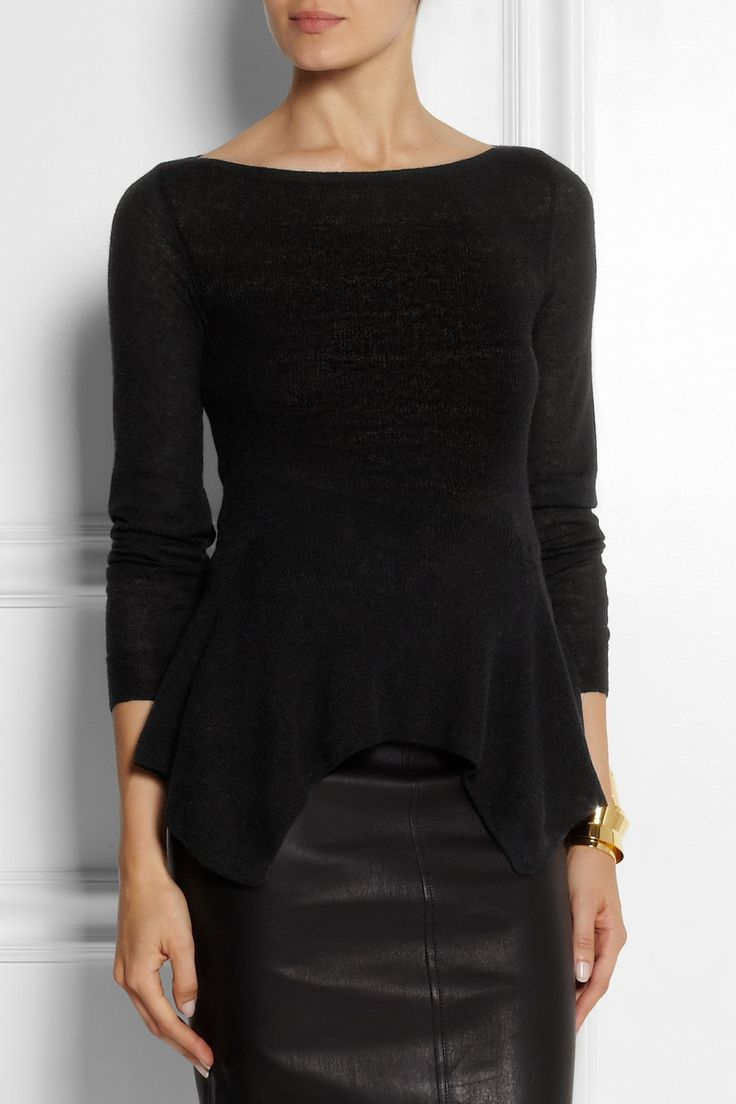 Lanvin Knitted Peplum Top (long sleeve, fit and flare, boat neck)