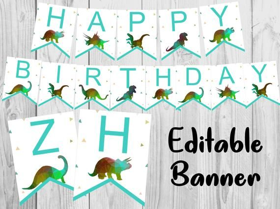 Dinosaur Banner Custom Dinosaur Birthday Banner Editable Etsy In 2020 Happy Birthday Banner Printable Happy Birthday Banner Printable Free Dinosaur Birthday