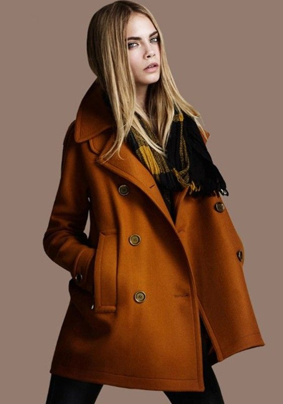 Yellow Plain Pockets Double Breasted Wool Coat
