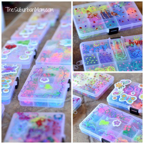 "Rainbow Loom Birthday Party Ideas (""Goodie Bags"" - fill & decorate your own storage boxes.)"
