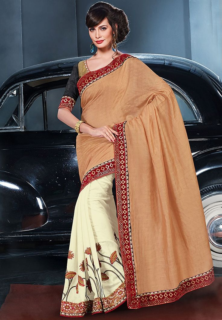 Viscose Beige Embroidered Saree at $133.00 (24% OFF)