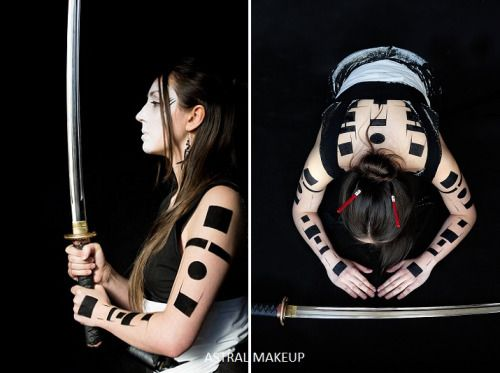 Inspired by Japanese warriors bodypainting from an exhibition in 2015.