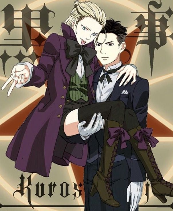 Yurio and Otabek crossdressing as Alois Trancy and Claude from Black Butler 2