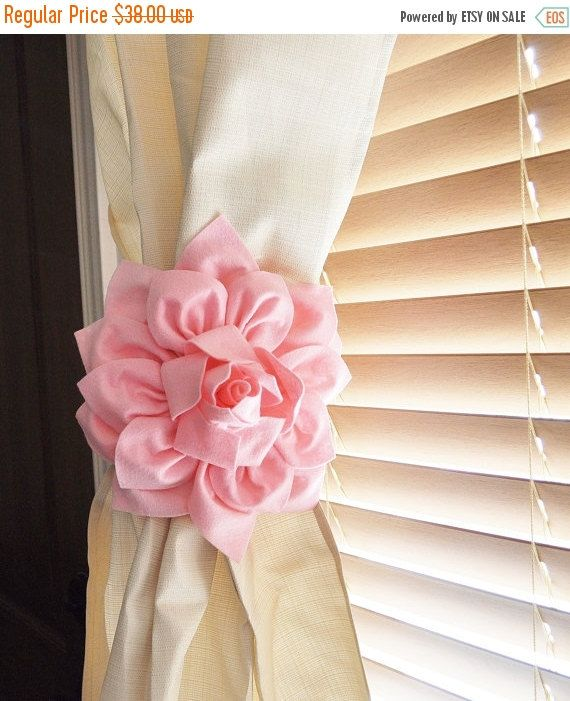 STARS and STRIPES SALE Nursery Decor-Two Dahlia Flower Curtain Tie Backs Curtain Tiebacks Curtain Holdback - Drapery Tieback -Baby Nursery D