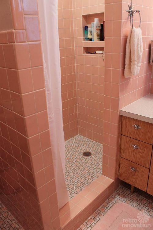 Gorgeous pink bathroom on Retro Renovation.
