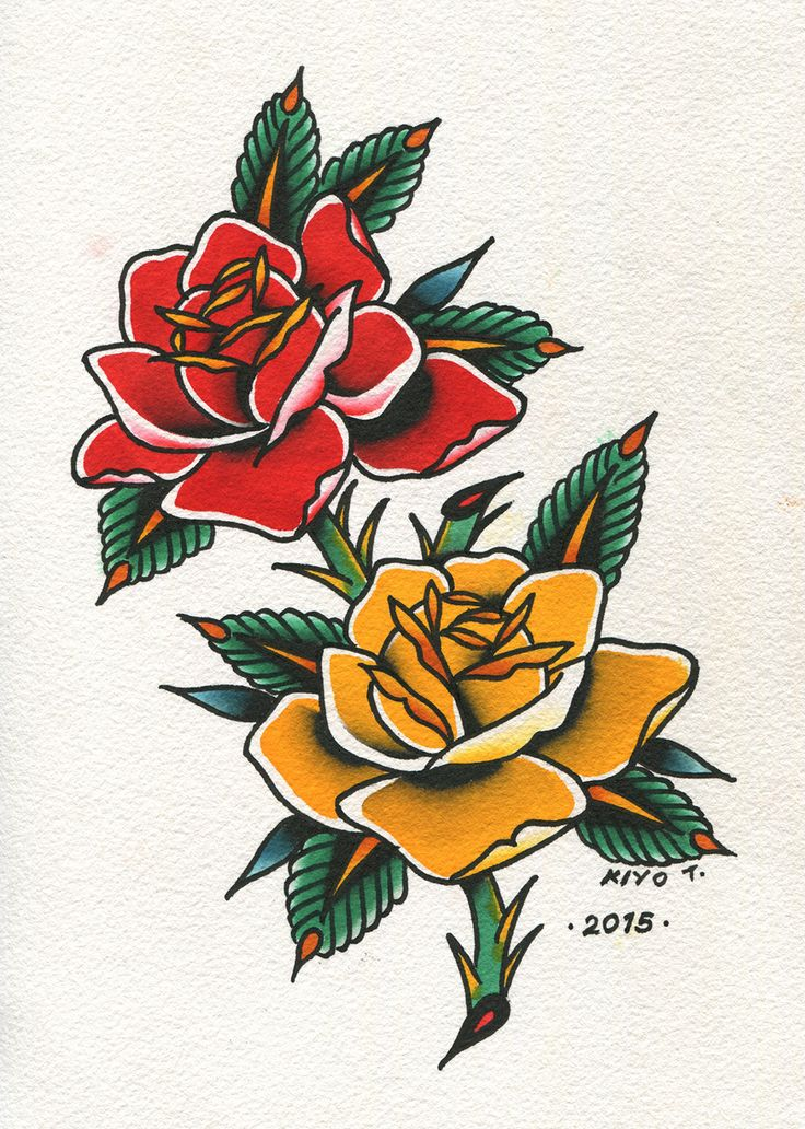 Old school tattoo - red and yellow roses