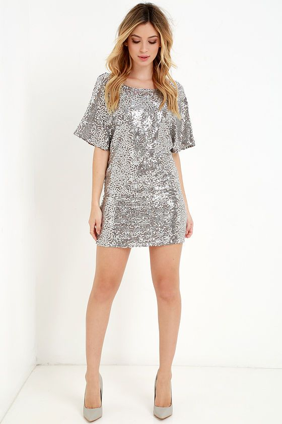The Throne-Worthy Pewter Sequin Shift Dress has a wide, rounded neckline and low sloping back.
