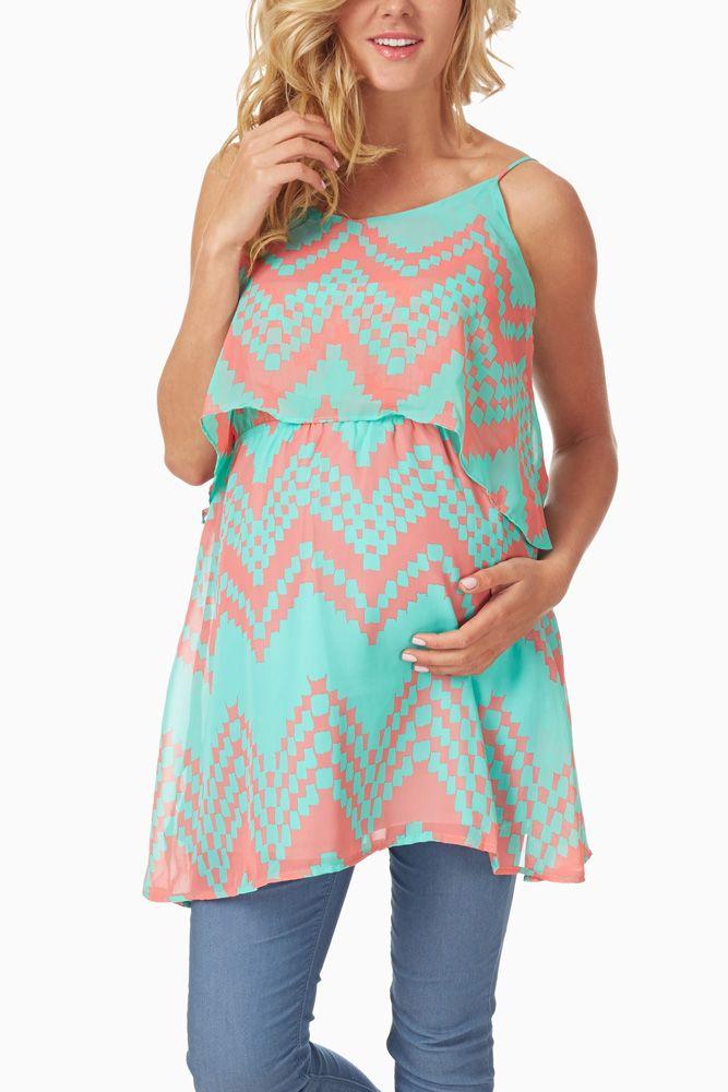 Mint-Green-Coral-Chevron-Printed-Maternity-Tunic #maternity #fashion
