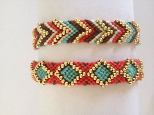 Friendship bracelets with some bead bling.   . . . .   ღTrish W ~ http://www.pinterest.com/trishw/  . . . .  #handmade #jewelry