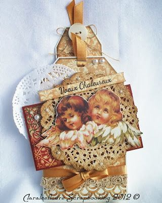 Claralesfleurs - Carte à pochette avec signet de Noël