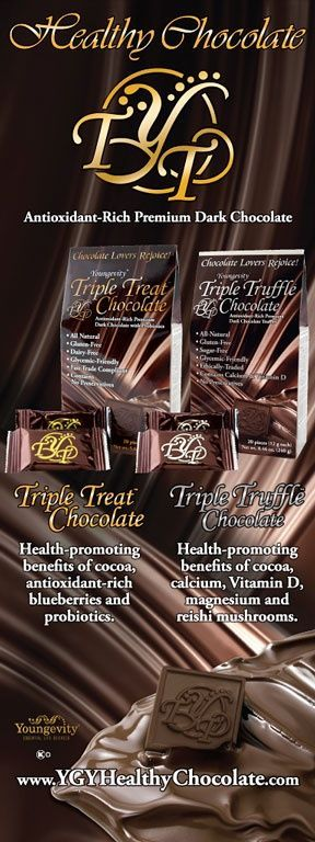 """""""PIN IT TO WIN IT!"""" - 1 box of Triple Treat Chocolate and 1 box of Triple Truffle Chocolate by Youngevity / TRIPLE TREAT - Enjoy the health-promoting benefits of cocoa, antioxidant blueberries and probiotics while you satisfy your desire for chocolate! / TRIPLE TRUFFLE - Treat yourself to the luscious taste of chocolate and treat your body to powerful support for healthy aging, strong bones, and immune function!"""