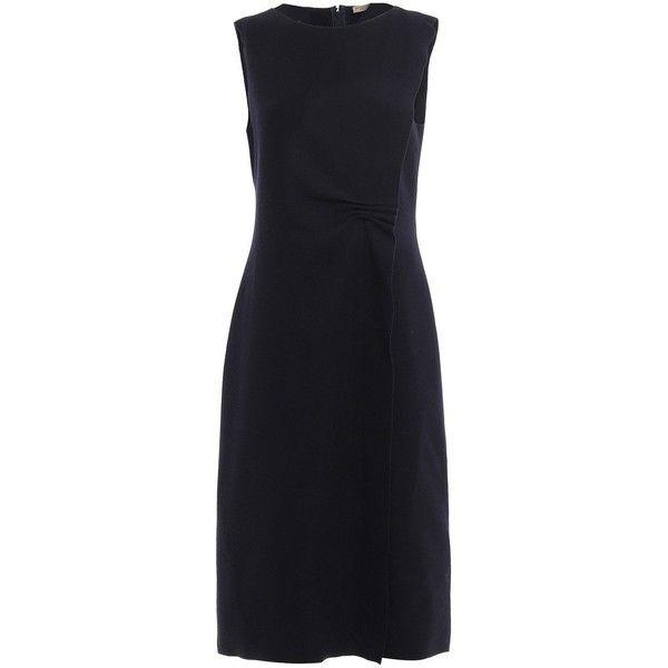 Crepe Dress (28 240 UAH) ❤ liked on Polyvore featuring dresses, black, womenclothingdresses, bottega veneta dress, flounce dress, flutter-sleeve dresses, crepe fabric dress and flouncy dress