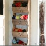 DIY Wall Storage Bins  these would work great for hats & gloves!