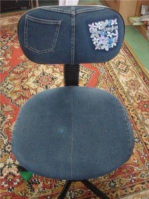 Ideas de reciclaje de jeans Recycled Upcycled denim old jeans OFFICE CHAIR RECICLAR REUTILIZAR VIEJOS PANTALONES TEJANOS SILLA OFICINA
