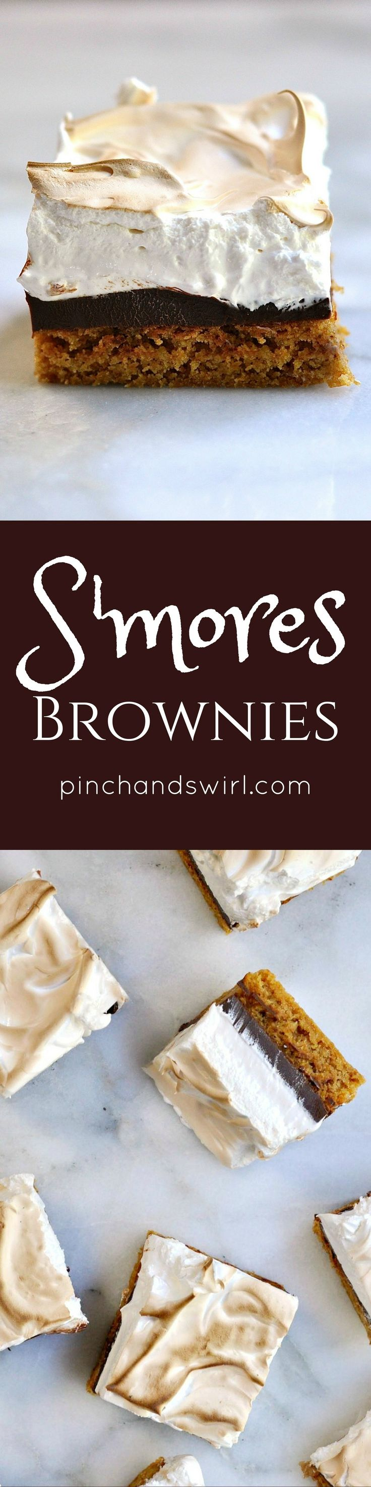 These S'mores Brownies start with a chewy blondie brownie layer that tastes like a buttery, honey kissed graham cracker followed by a thick layer of creamy dark chocolate and finished with a toasted billowy smooth marshmallow meringue.