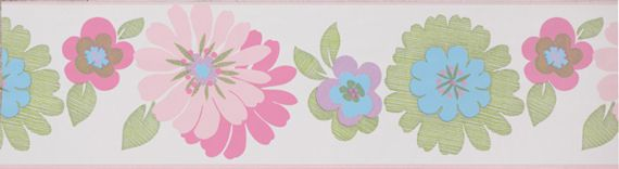 Floral Light Pink Wall Paper Border - Wall Sticker Outlet