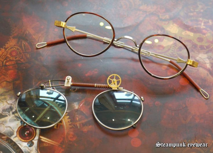 Steampunk glasses with green eye sunclip