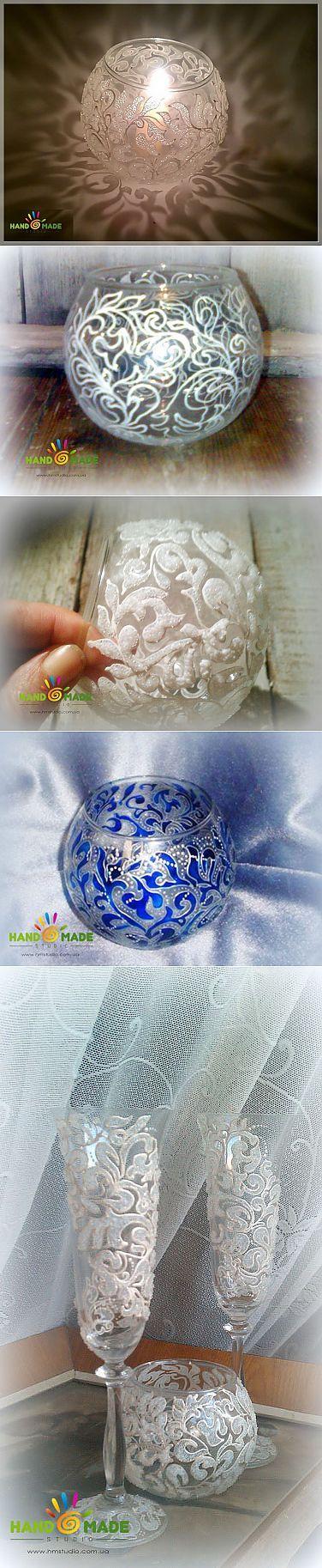 Морозный узор на вазе   Умелые ручки   Роспись по стеклу   Постила
