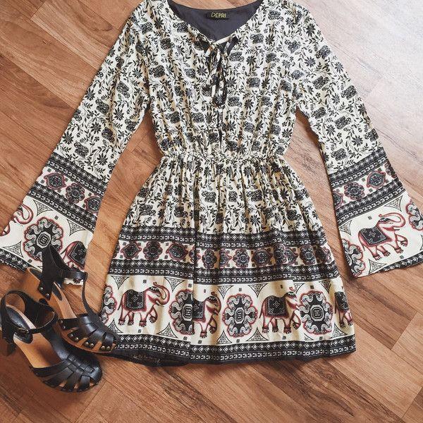 Lace Up Elephant Dress  Bohemian clothing boho chic hippie fashion gypsy clothing 70s style