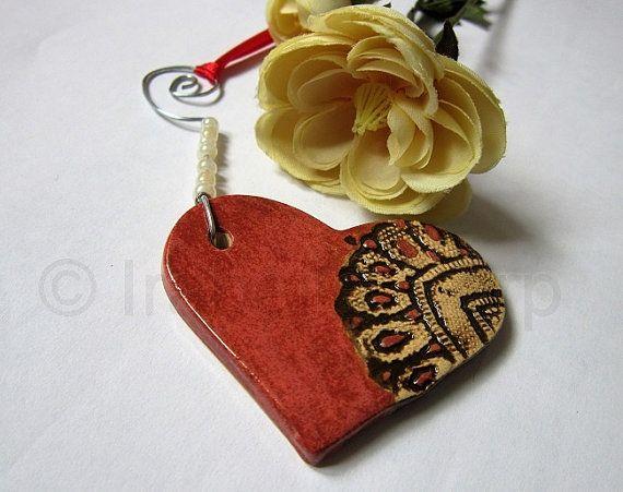 Heart Lace Ornament Pottery Ceramic by Tulipe by TulipeStudios