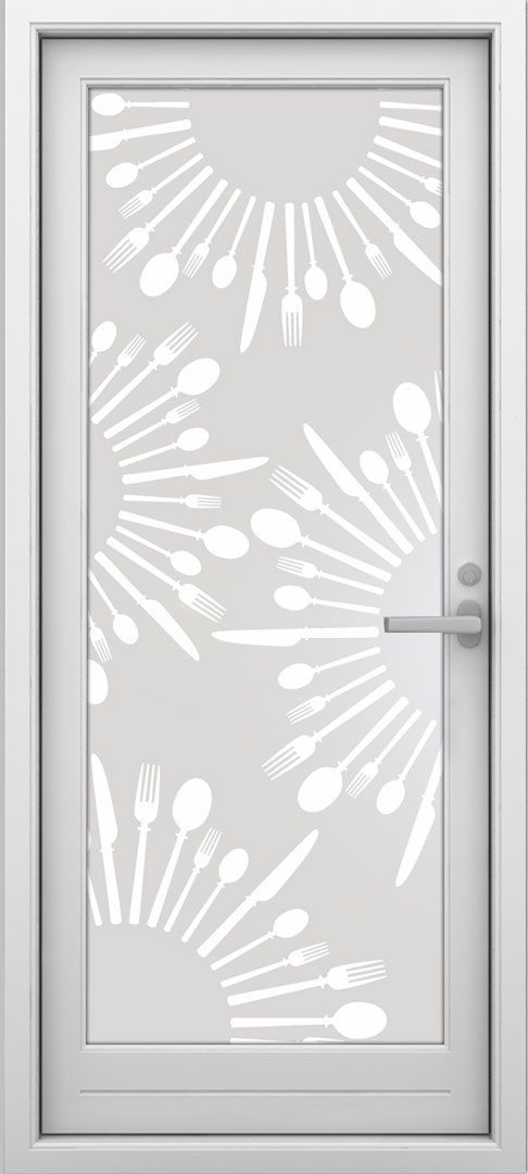 Vinilo para vidrios translucido, deja pasar la luz preservando la intimidad. El dibujo puede ser impreso a color o recortado.