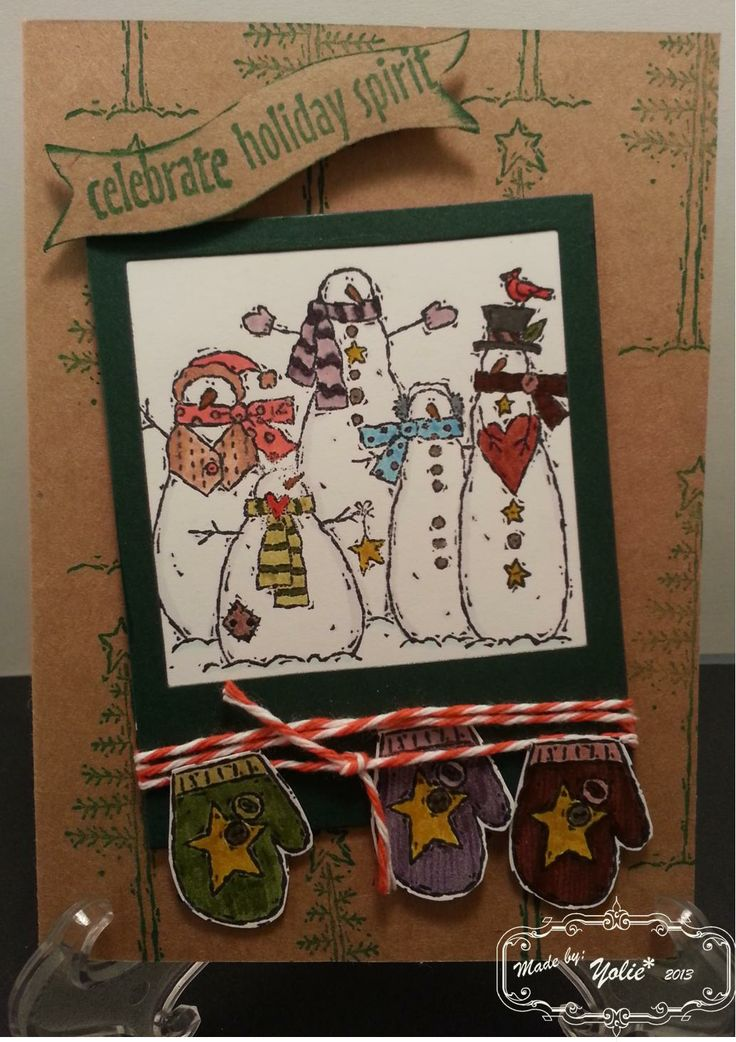 "Snowmen Snapshot. Stamps: Stampin' Up! ""Flaky Friends"" and Hot off the Press ""Christmas Words"". Die: Fawn Lawn. Color: Tim Holtz Distress Markers."