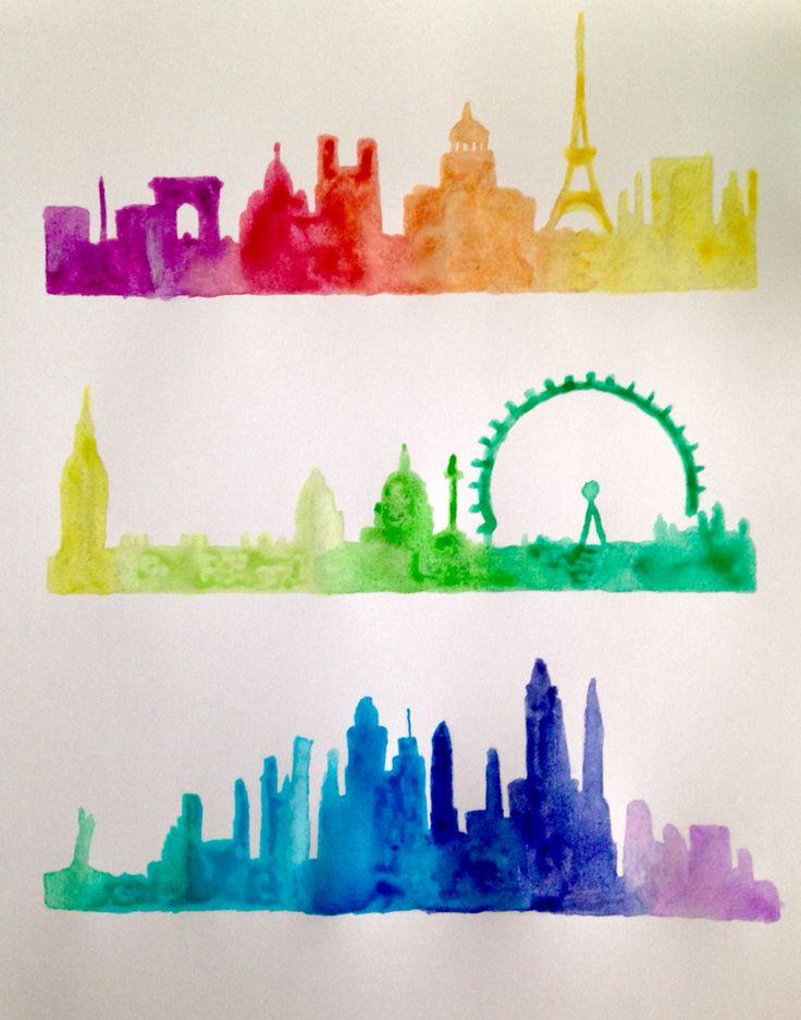 Paris, London, and New York City skyline watercolor silhouette