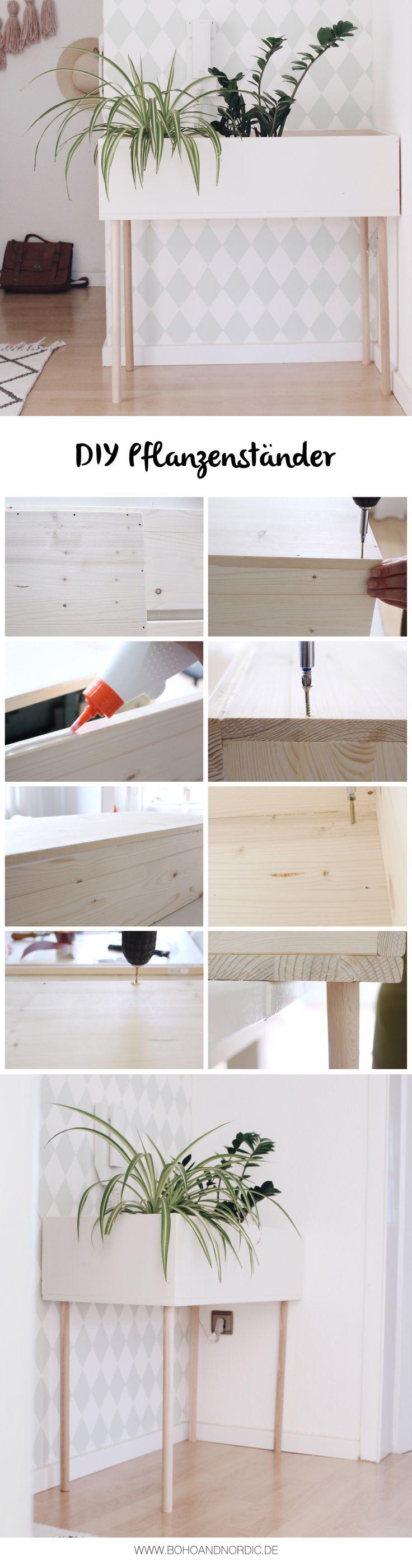 DIY Möbel und Wohnen - Pflanzenständer im skandinavischen Stil selber machen. Möbel aus Holz selber bauen.